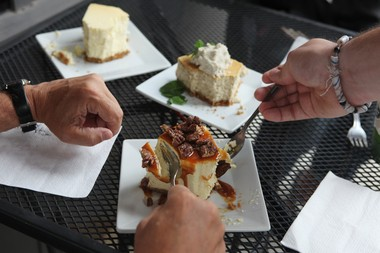 Munchers dig into the caramel pecan cheesecake at Anthony's Cheesecakes in Bloomfield.
