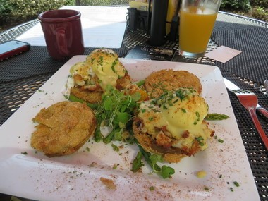 Crabby eggs Benedict is what's for breakfast at Miss Shirley's