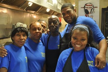 Cookie Scott, second from left, and her crew at Mama's Southern Style BBQ II in Union.