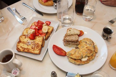 It's time for breakfast at the Americana Diner, with an omelet and French toast.