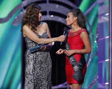 At right, Miss New Jersey, Cierra Kaler-Jones, explains her platform, Empowering Today's Youth Through Arts Education, to host Dena Blizzard on the second day of the Miss America preliminaries at Boardwalk Hall. Kaler-Jones did not make the pageant semifinal. (Alex Remnick | NJ Advance Media for NJ.com)
