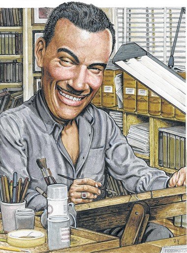 Matt Baker, the first African-American artist to work in mainstream comics, as depicted by Friedman.