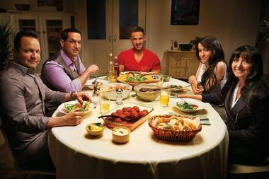 """The Sorrentinos,"" starring Mike ""The Situation"" Sorrentino (center) and his family, from left, his brothers, Frank and Marc, mother Linda and sister Melissa debuted on the TV Guide Network in July."