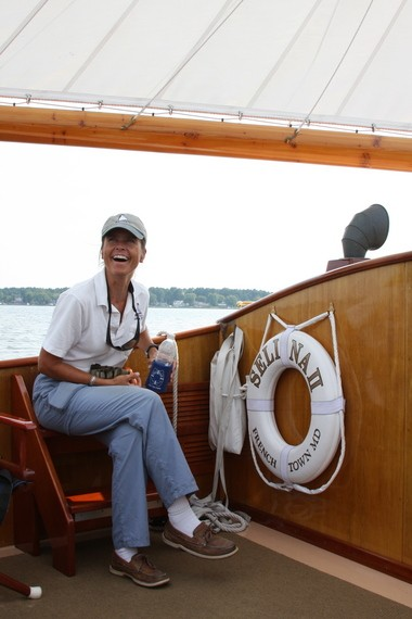 Captain Iris Clarke offers plenty of laughs at the helm of the vintage Cat boat, Selina II