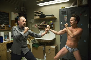 Keaton confronts an aggressive Ed Norton backstage in the play-within-a-film of 'Birdman'.