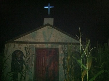 A church in the middle of the 'Paranoia' cornfield haunt at Norz-Hill Farm in Hillsborough. (Amy Kuperinsky | NJ Advance Media for NJ.com)