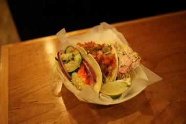 Pork, beef and shrimp Korean tacos at Mogo in Asbury Park on Oct. 17, 2014.