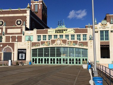 Asbury Park boardwalk and Paramount Theater on Oct. 17, 2014.