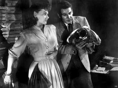 """Ann Robinson and Gene Barry elude the Martians in """"The War of the Worlds."""""""
