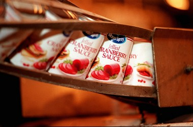 Cans of cranberry sauce at Ocean Spray's Bordentown plant in 1996. The plant closed this year and the operation moved to Pennsylvania. (Star-Ledger file photo)