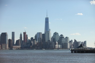 A view of the New York City skyline from the Hudson River Waterfront Walkway in Hoboken on Nov. 21, 2014.