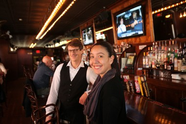 Manager Nancy Guajardo and server Michael Prokrop at The Brass Rail in Hoboken on Nov. 21, 2014.
