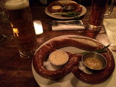 An enormous pretzel and Pilsner Haus beer at Pilsner Haus biergarten in Hoboken on Nov. 21, 2014.