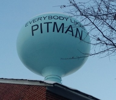 Some mottos grace water towers, like this one in Pitman, Gloucester County. (Courtesy Holly Mummert)