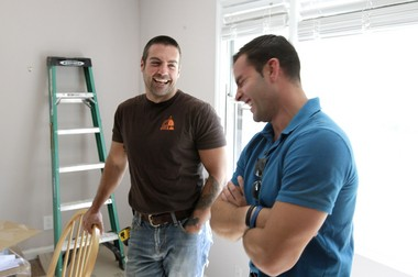 Colaneri, at right, with his cousin Anthony Carrino, the other half of the 'Kitchen Cousins', filming in Clifton in 2012. (John O'Boyle/The Star-Ledger)