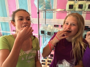 Lexie Naval and Adrienne Impellizeri sample the cotton candy at SpinnCandy in Chester (Peter Genovese I NJ Advance Media for NJ.com)