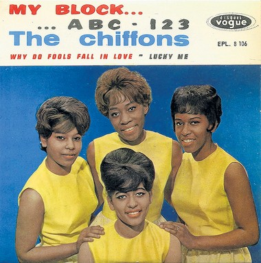 A Chiffons compilation album. Lead singer Judy Craig appears at top center.