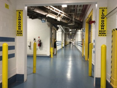 The 'Blue Mile' hallway of the M&M's plant in Hackettstown. (Amy Kuperinsky | NJ Advance Media for NJ.com)
