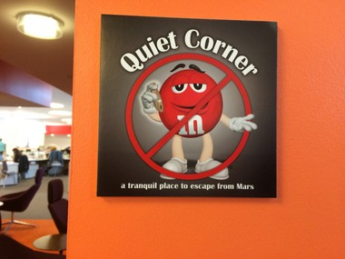 Signage for a quiet nook inside the Mars offices. (Amy Kuperinsky | NJ Advance Media for NJ.com)
