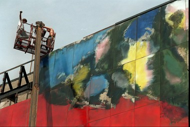 In 1998, a crew from Paterson removed panels from the Alexander's mural in Paramus -- each panel measured 4 feet by 7 feet 8 inches. Theywere stored in a Carlstadt public works garage. (Star-Ledger file photo)