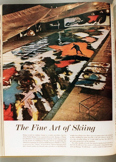 A feature in Life magazine showed artist Stefan Knapp 'skiing' in an airplane hangar on what would become the Alexander's mural in Paramus. (Star-Ledger file photo)
