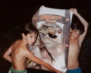 David Chakrin, at right, gave Michael Raisch, at left, a 'Jurassic Park' movie poster for his 12th birthday. (Courtesy Michael Raisch)