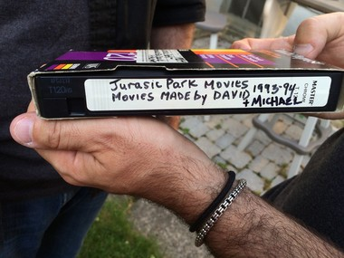 The master copy of Chakrin and Raisch's 'Jurassic Park' film, complete with a label from Mom. (Amy Kuperinsky   NJ Advance Media for NJ.com)