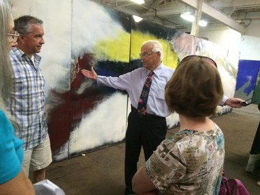 Rep. Bill Pascrell (D-9th Dist.), center, pays a visit to the Alexander's mural panels. Pascrell, a former mayor of Paterson, used to teach high school in Paramus, where the mural once stood. (Amy Kuperinsky | NJ Advance Media for NJ.com)