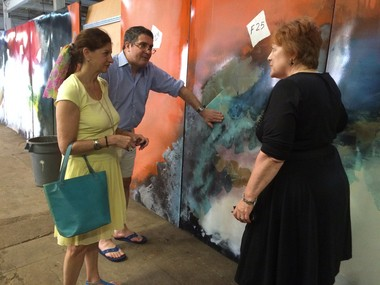At right, Dorothy Nicklus, vice president of the Bergen Museum of Art and Science, talks to Cindy Farkas Glanzrock, the granddaughter of George Farkas, owner of the first Alexander's. Farkas and his wife, Ruth Lewis Farkas (onetime ambassador to Luxembourg), commissioned the mural from artist Stefan Knapp after seeing his other work at Heathrow Airport. (Amy Kuperinsky | NJ Advance Media for NJ.com)