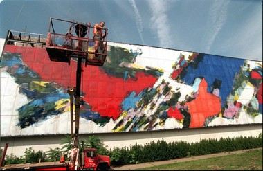 In 1998, a crew from Paterson removed panels from the Alexander's mural in Paramus -- each panel measured 4 feet by 7 feet, 8 inches. The mural's panels were stored in a Carlstadt public works garage. (Star-Ledger file photo)