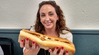 Caitlin Noselli with a cheesesteak at Chick's Deli, Cherry Hill (Peter Genovese I NJ Advance Media for NJ.com)