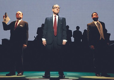 """From left: Michael McKean as J. Edgar Hoover, Bryan Cranston as Lyndon Baines Johnson and Brandon J. Dirden as Martin Luther King Jr. in the 2014 Broadway production, """"All the Way."""" The play won Tony awards for best drama and best actor (Cranston)."""