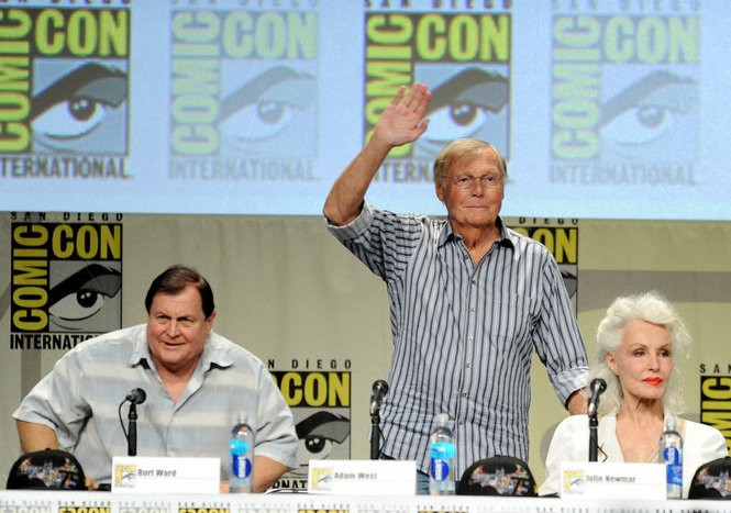 'Batman' alumni Burt Ward, Adam West and Julie Newmar at Comi-Con in 2014. The trio reunites in October at Chiller Theatre Expo in Parsippany. (Kevin Winter/Getty Images)