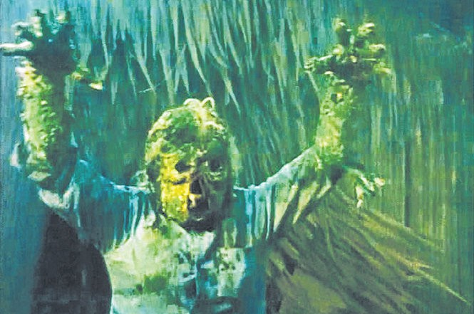 """The green, skull-faced monster from the Filipino horror film """"The Mad Doctor of Blood Island"""" (1969)."""
