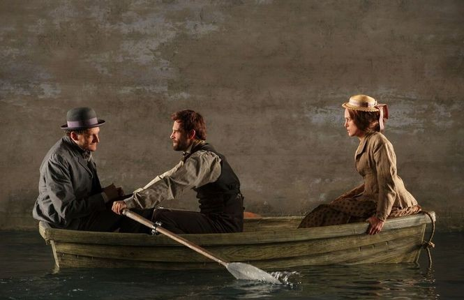 "The extraordinary production design of ""Therese Raquin,"" by Tony-winner Beowulf Boritt, features an onstage pool representing the Seine River."