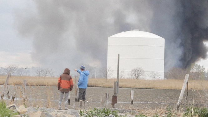 The group spots a fire in the distance. (Jon Cohrs)