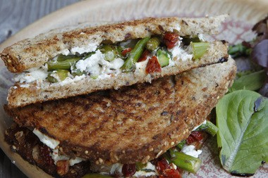 The asparagus, goat cheese, caramelized onion and sun dried tomato panini at Positively 4th St., Ocean City (Tim Farrell I The Star-Ledger)