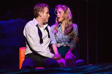 """Adam Rapp and Kerry Butler play reunited lovers on a sinking ship in the new musical comedy """"Disaster!"""" (Jeremy Daniel Photography)"""