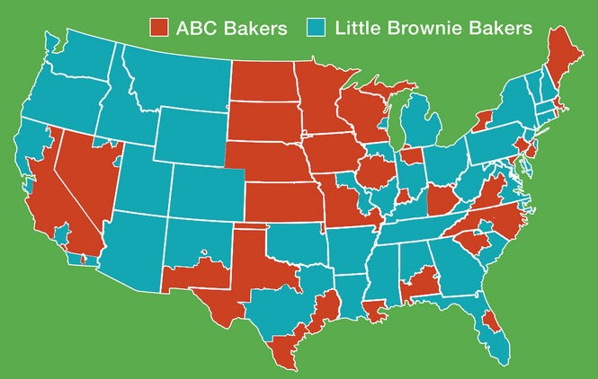 A nation divided: This map of the United States illustrates which Girl Scout cookies are available in which states