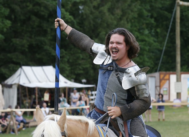 The Knights of Noble Cause get ready for battle to see who will win the title of the greatest knight of all the realm at the New Jersey Renaissance Faire in Bordentown. (William Perlman | NJ Advance Media for NJ.com)