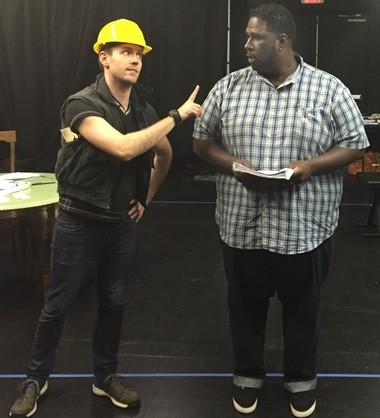 "David Seamon (left) and Di Shawn Gundy (right) rehearse a scene from ""Terra Incognita."""