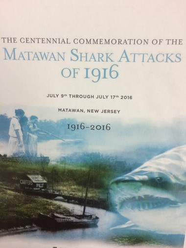 The front page of a draft program for Matawan's 1916 shark attacks centennial commemoration.