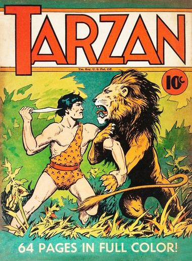 """Tarzan's first comic book appearance, in """"Large Feature Comics"""" No. 5 (1938)."""