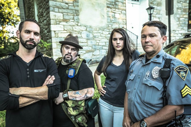 The paranormal team from 'Ghosts of Shepherdstown' from left to right: Lead investigator Nick Groff, paranormal tech Bill Hartley, sensitive and investigator Elizabeth Saint, and Shepherdstown police Chief Mike King. (Photo provided by Scott McKibben for Destination America)