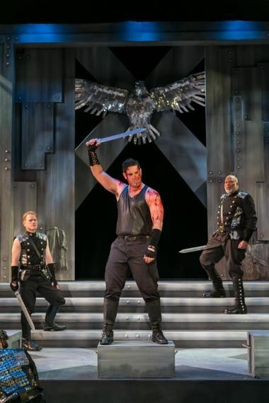 "Greg Derelian, center, plays the title character in ""Coriolanus"" with a palpable sense of smug aloofness (Photo by Jerry Dalia)"