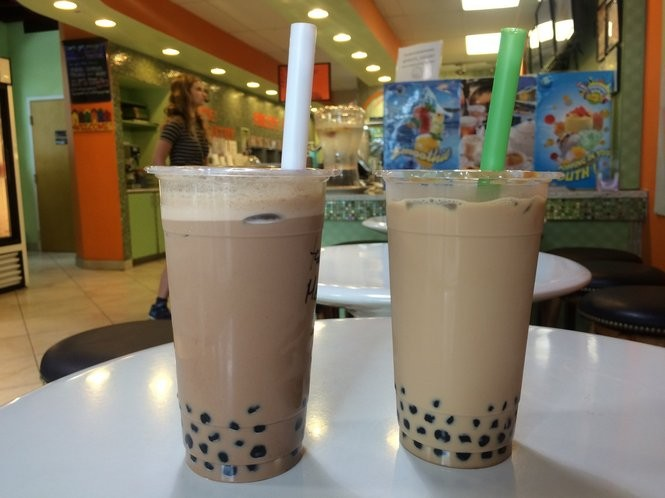 Mocha and black milk tea bubble tea from Fruity Yogurt. (Sydney Shaw | NJ Advance Media for NJ.com)