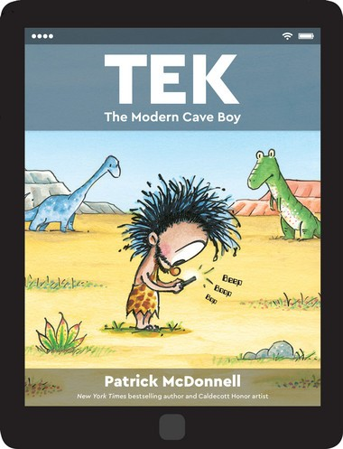 Tek is a cave boy who is way too attached to his electronic devices.