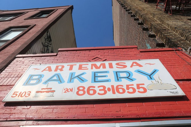 A sign above a Cuban bakery on Bergenline Avenue, West New York.