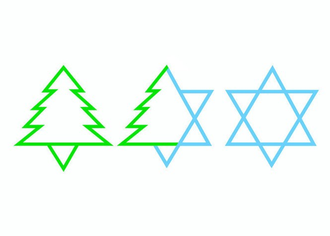 An interfaith holiday card from MixedBlessing, a card purveyor based in Asheville, N.C. This year, interfaith families may have an easier time combining holidays, given the fact that Hanukkah and Christmas will share the same weekend. (Courtesy MixedBlessing; mixedblessing.com)
