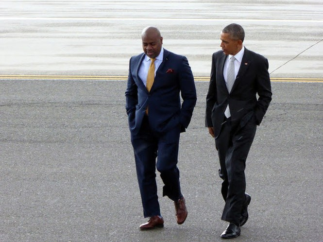 Jared Kofsky's photo of Newark Mayor Ras Baraka and President Barack Obama in Newark before the president's commencement speech in May at Rutgers University in New Brunswick. (Jared Kofsky)